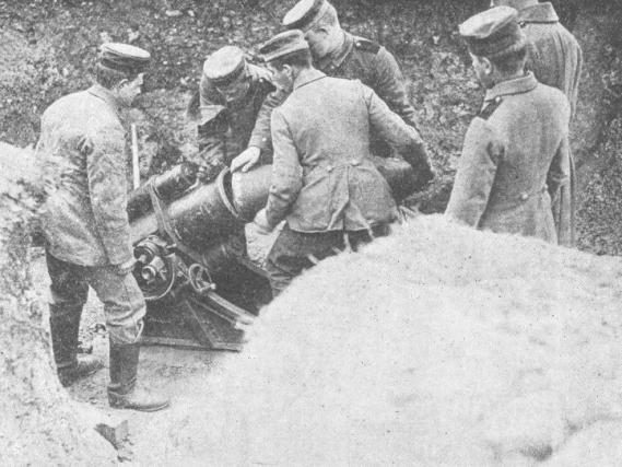 German soldiers loading a shell into a minenwerfer