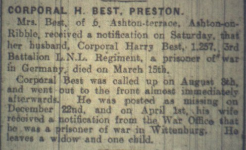 1257 LCPL HARRY BEST 1ST BN POW THEN DIED
