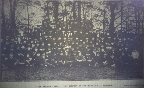 Photo of `D` Company, 7th Battalion (Preston Pals) taken on the 21 November, 1914 at Tidworth.