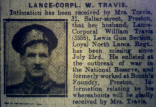 3556 Lance Corporal William Travis 7th Battalion