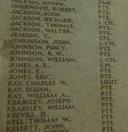 "9906 Lance Corporal John Jenkinson ""C"" Coy 1st Battalion harris museum"