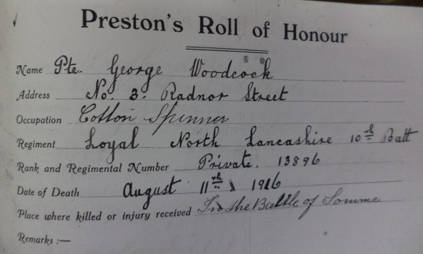 13896 PTE GEORGE WOODCOCK 10TH BN