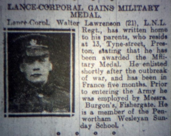 "201213 Lance Corporal Walter Lawrenson MM ""A"" Coy 1-4th Battalion 2"