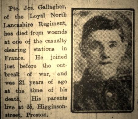 2531 Private Joseph Gallagher 1st Battalion