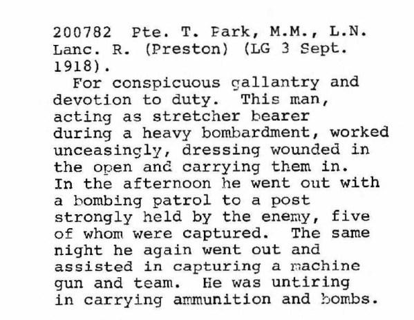 200872 Lance Corporal Thomas Park MM DCM 3