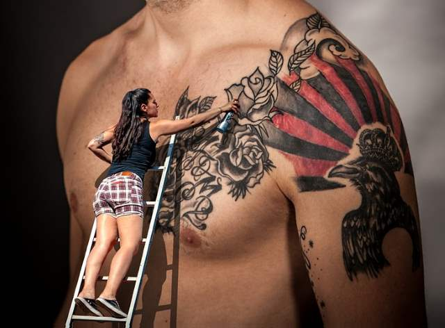 Girl Applying Tattoo
