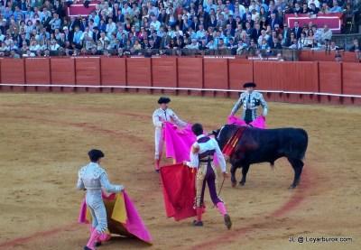 Matador and part of his entourage. Plaza de Maestranza, Sevilla.