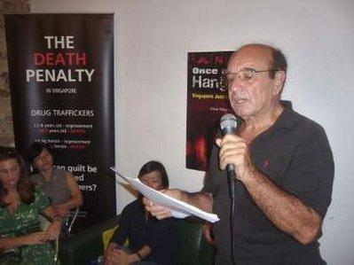 "Alan Shadrake speaking at one of the launch events for ""Once A Jolly Hangman"""