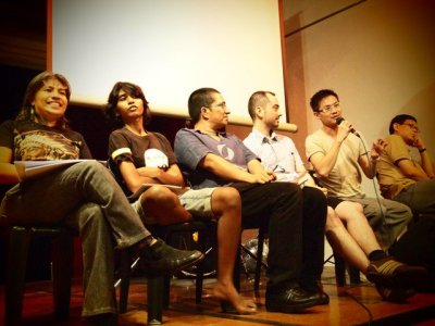 """Angela with the panel of presenters of """"Even Educated Fleas Do It"""" during Seksualiti Merdeka 2010"""