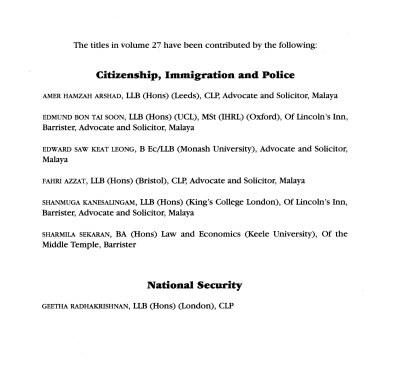 Halsbury's Author List