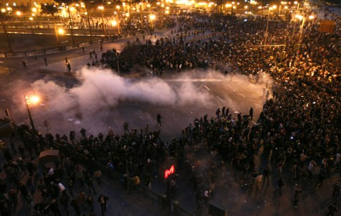 Egyptian demonstrators protest in central Cairo January 25, 2011. (MOHAMMED ABED/AFP/Getty Images)