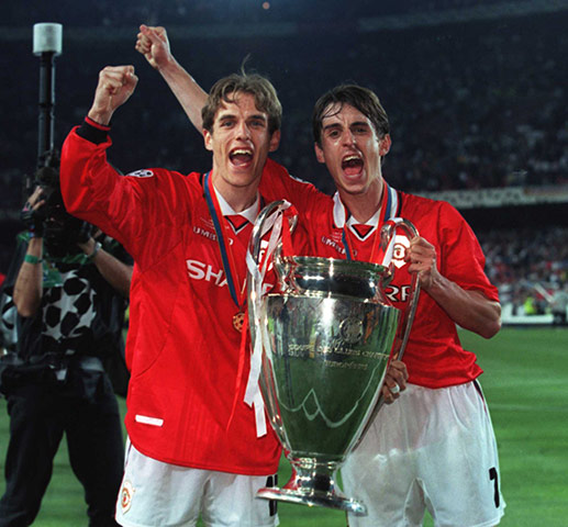 The Treble in 1999! With brother Phil. | Source: Allsport