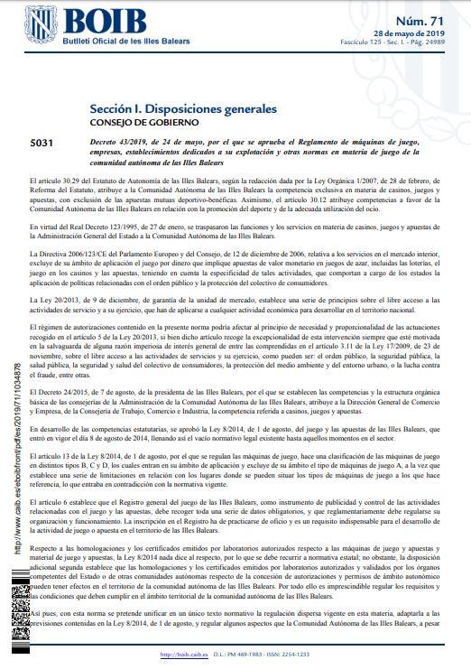 Illes Balears Decreto 43 2019 De 24 De Mayo B O I B Núm