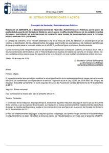 Castilla La Mancha. Resolución de 22/05/2019, de la Secretaría General de Hacienda y Administraciones Públicas (D.O.C.M. núm. 103, de 29 de mayo), fotografía del escrito