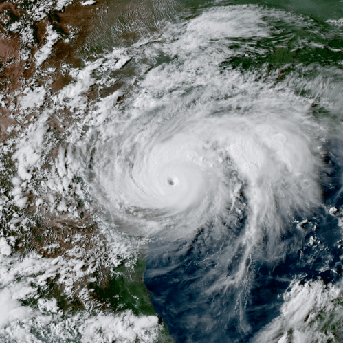Hurricane Harvey near the coast of Texas on Aug. 25.