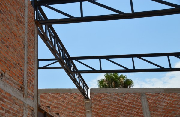 Steel beams in place. Wish we'd been there while the crane was there -- but it went very fast!