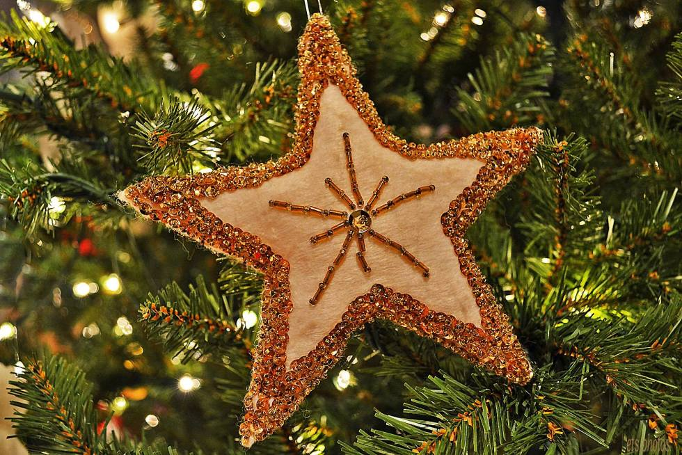 Christmas Star Ornament on the Tree
