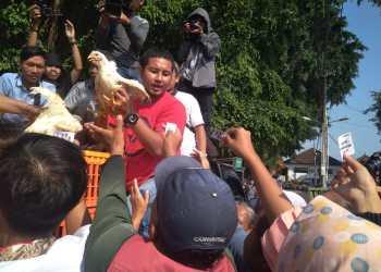 Panitia membagikan ayam gratis kepada warga yang telah mendapatkan kupon sebelumnya di Alun-alun Utara, Yogyakarta. (26/6/2019))