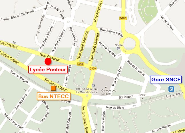 Carte situation géographique du Lycée Pasteur