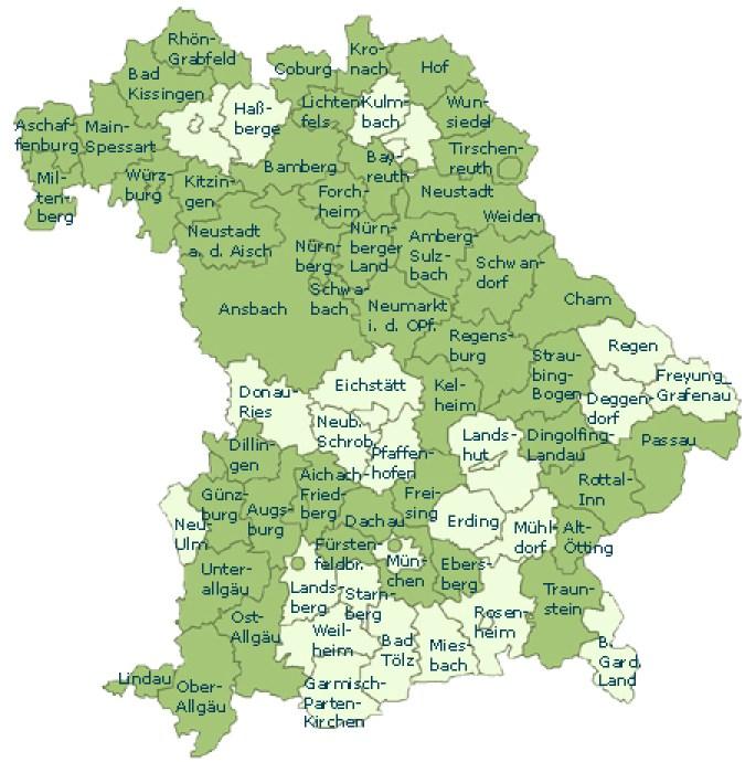 Bayernkarte mit den bisher gegründeten Landschaftspflegeverbänden (grün markiert)