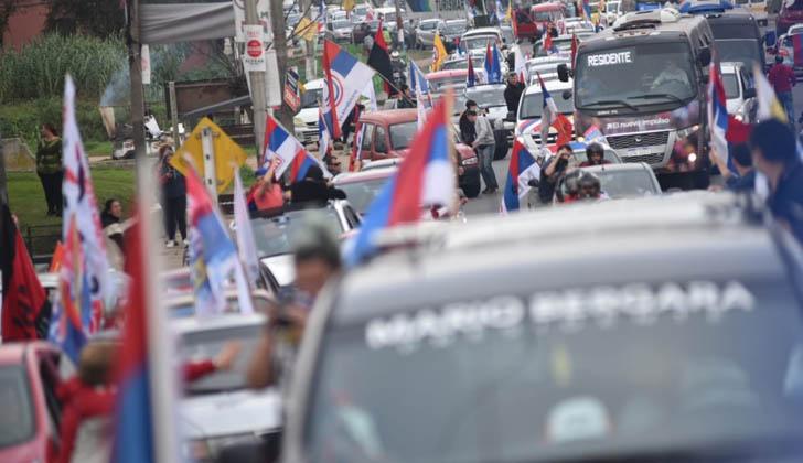 Caravana del Frente Amplio en Las Piedras. Foto: FA.