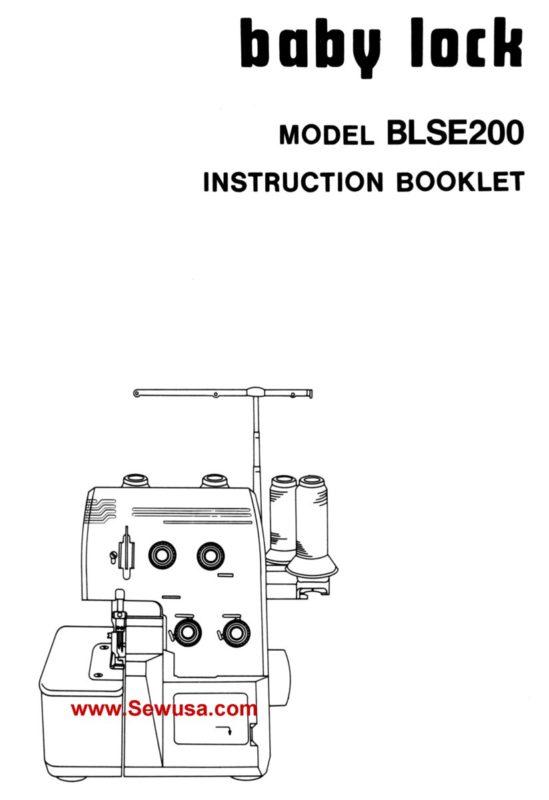 Babylock Model BLSE 200 Instruction Manual PDF