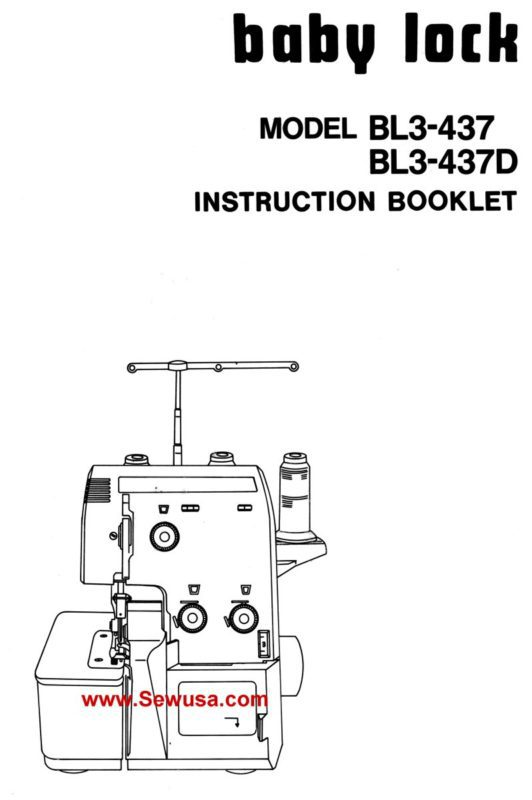 Babylock Model BL3-437 437-D Instruction Manual PDF