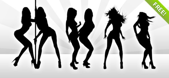 Seven Hot Dancing Girl Silhouettes