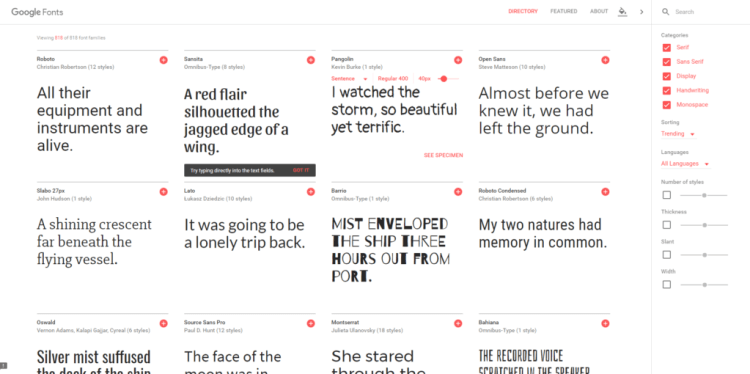 Google Fonts - Great Online Tools for Desginers and Hobbyists