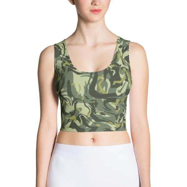 Green Camo Swirl Crop Top