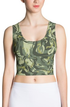 Green Camo Swirl Crop Top
