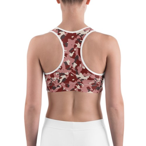 Women's Red Camo Print Sports bra