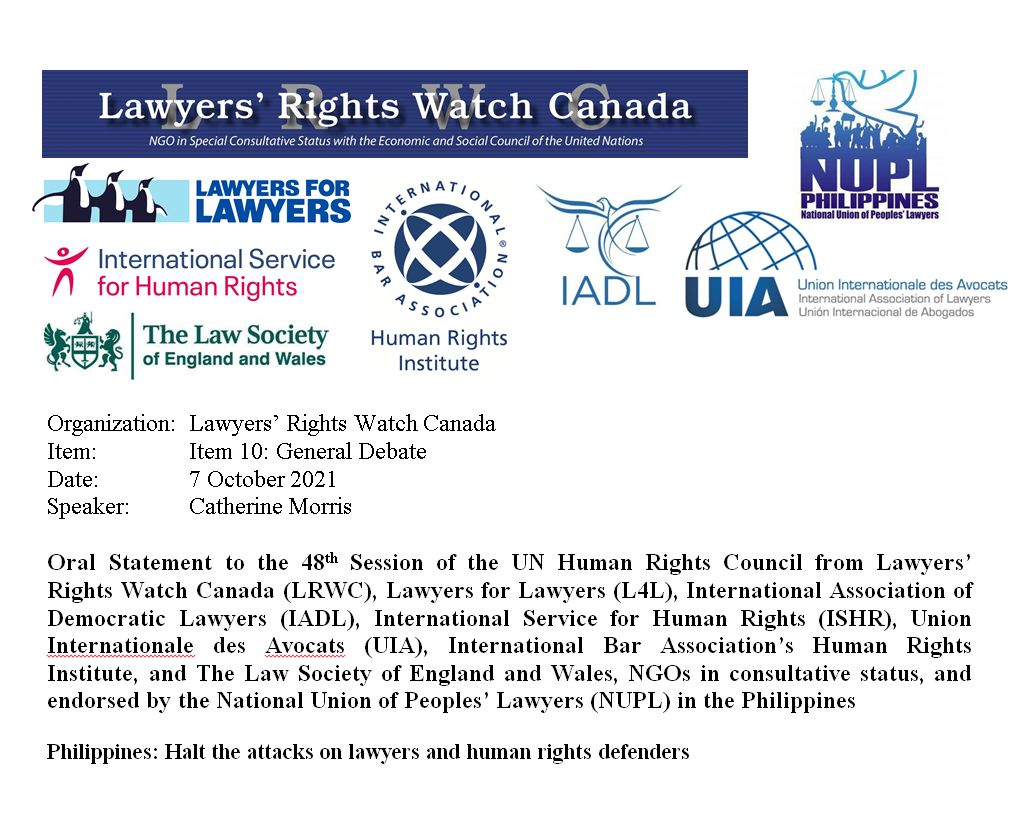 Philippines: Halt the attacks on lawyers and human rights defenders | Joint statement to the UN Human Rights Council