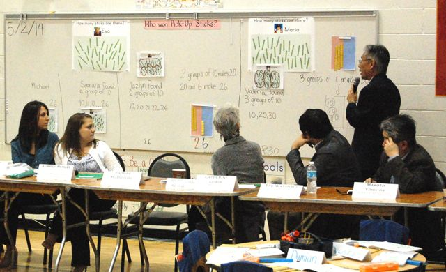 Dr. Takahashi gives final comments on a kindergarten lesson at the Chicago Lesson Study Conference at Prieto in 2013.
