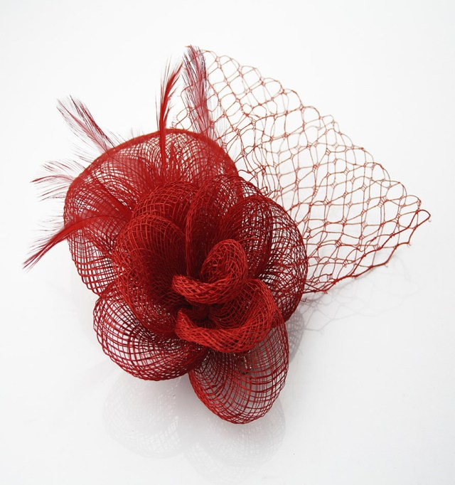 wholesale red feather & mesh flower fascinator on comb