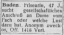Kontaktanzeige Badissche Friseurin, in Die Freundin 6.1 (1930)