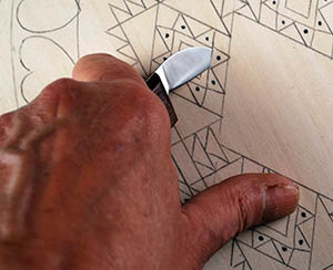 Design uses the chip carving technique a favorite of the vikings