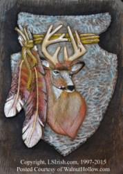 Mule Deer Relief Carving by Lora Irish