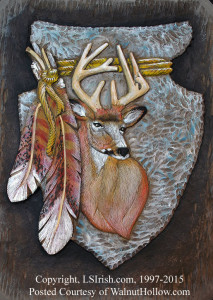 Mule Deer Relief Carving by Lora Irish