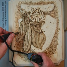 wood burning a wood carving