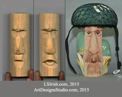 wood spirit carving. planes of the face
