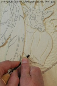 Shaping the Mule Deer body in wood carving