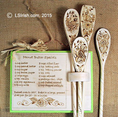 Wooden spoon with pyrography design