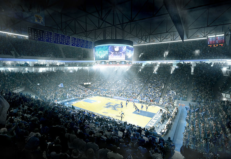 Kentucky Wildcats Basketball Stadium as the game goes on below