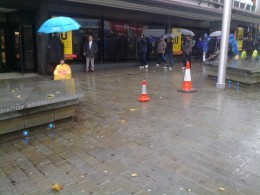 Cones set up on Steep Hill to stop people slipping on the oil