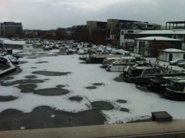 The Brayford in Lincoln covered in snow