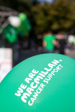 "A balloon saying ""we are Macmillan cancer support"""