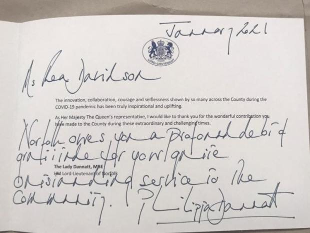 Rea's letter from the Lord-Lieutenant of Norfolk