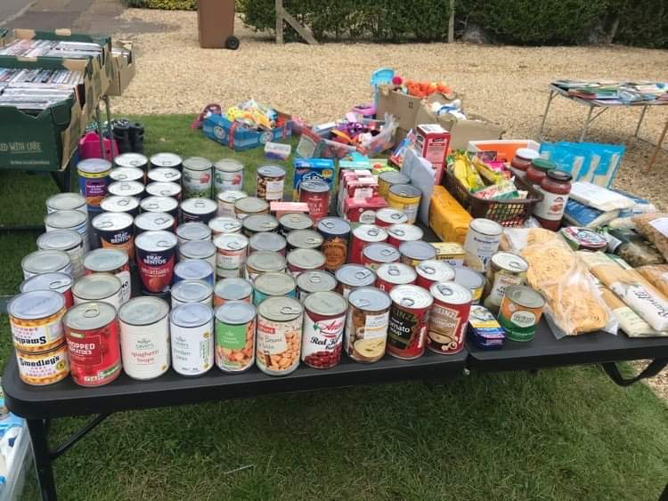 Donation table in Rea's front garden