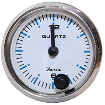 Faria Chesapeake White SS Analog Clock - 13891 - Lauderdale Speedometer